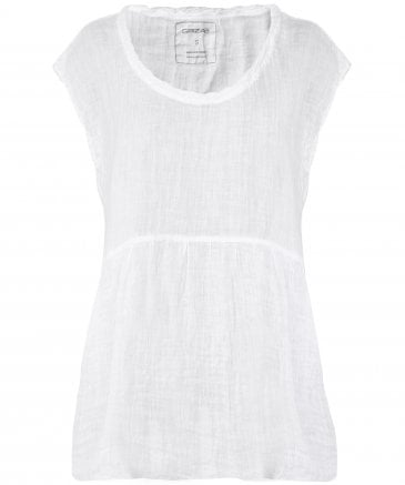 Washed Linen Twisted Neckline Top