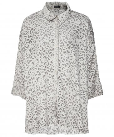 Silk Blend Cut Out Floral Patterned Shirt