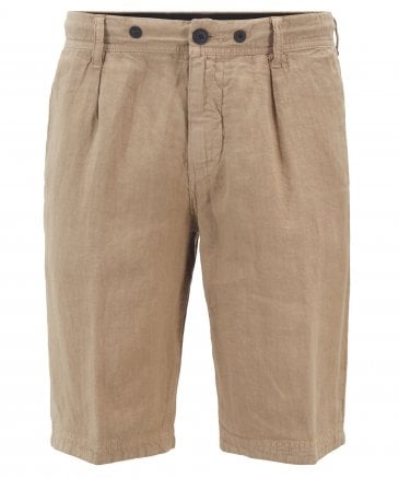 Tapered Fit Linen Symoon-Shorts