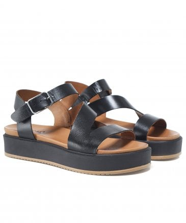 Inuovo Women's Leather Wedge Strap Sandals