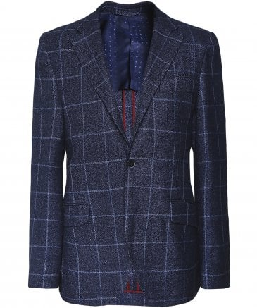 Linen Blend Windowpane Check Jacket
