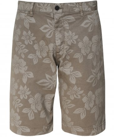 Stretch Cotton Hibiscus Shorts