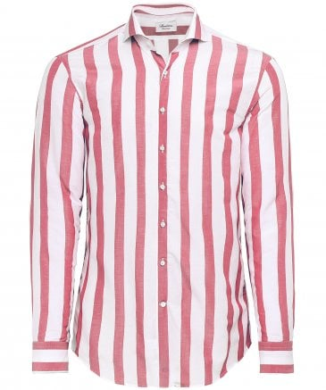 Fitted Body Linen Blend Broad Striped Shirt