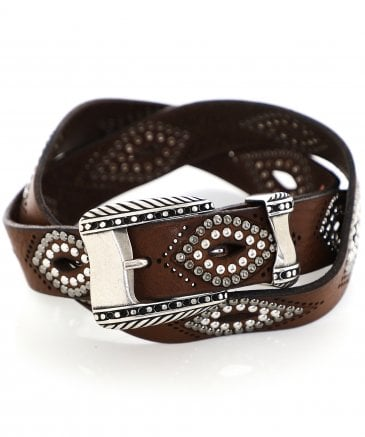 Nanni Women's Studded Leather Cut Out Belt