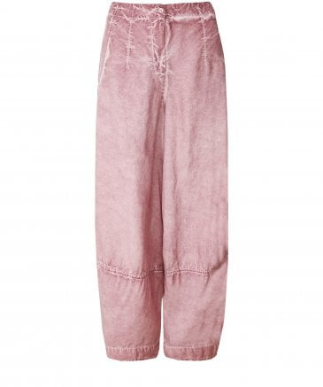 Silk and Linen Blend Washed Effect Trousers