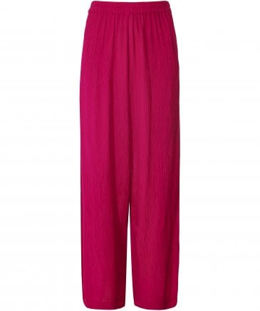 Silk Blend Crinkled Wide Leg Trousers