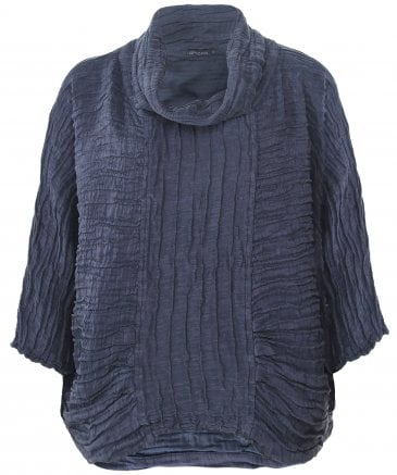 Linen and Silk Blend Crinkled Cowl Neck Top