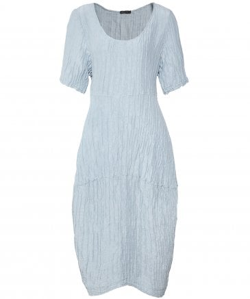 Linen Blend Crinkled Short Sleeve Dress