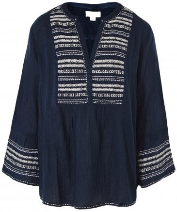 Zaley Embroidered Peasant Top