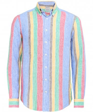 Slim Fit Linen Striped Shirt