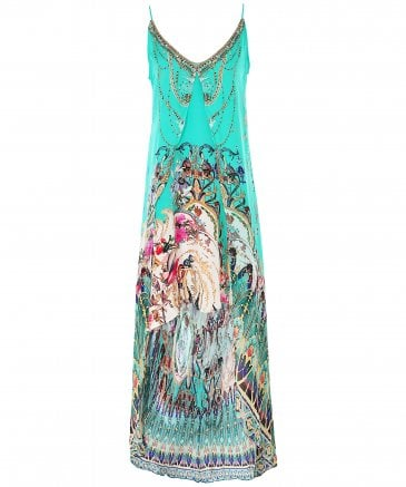 Camilla Women's Silk Floraison Mini Dress with Sheer Overlay