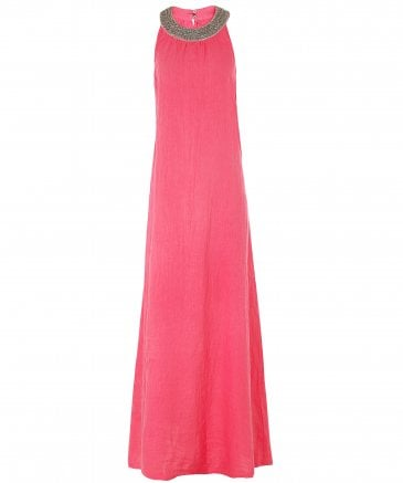 Linen Beaded Neckline Maxi Dress