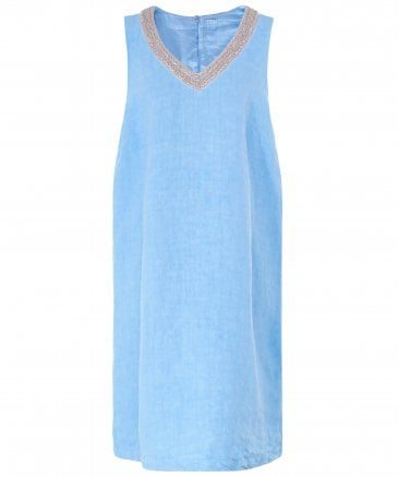 Linen Beaded V Neck Dress