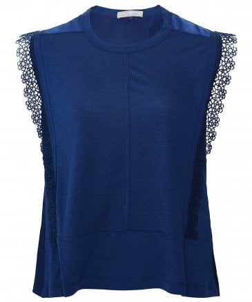Recite Jersey and Ribbon Lace Top