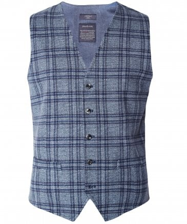 Stretch Cotton Tweed Check Waistcoat
