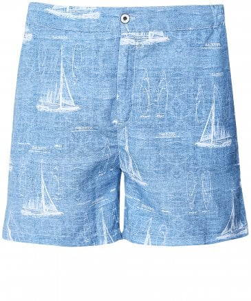 Tailored Fit Sail Boat Swim Shorts