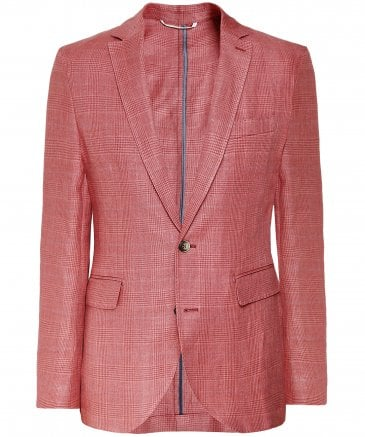 Linen Blend Prince of Wales Check Jacket