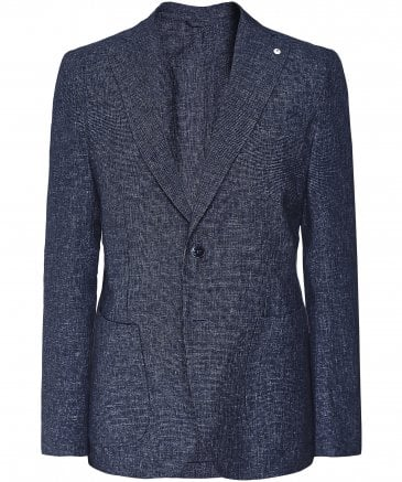 Linen Blend Micro Houndstooth Jacket