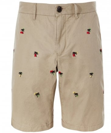 Cotton Twill Palm Tree Brooklyn Shorts