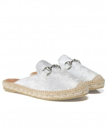 Kanna Women's Leather Glitter Sliders