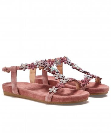 Alma en Pena Women's Suede Diamanté Sandals