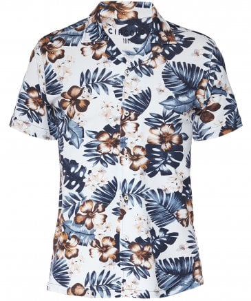Stretch Cotton Pique Hawaiian Floral Shirt
