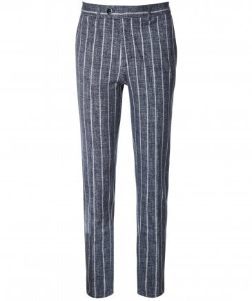 Stretch Cotton Striped Trousers