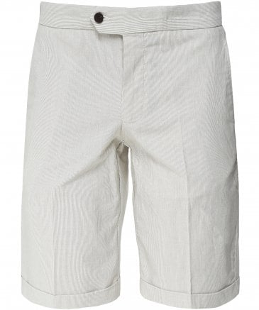 Tailored Fit Linen Blend Striped Shorts
