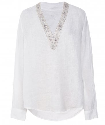 Linen Beaded V-Neck Top