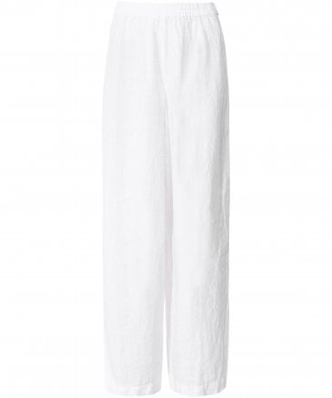 Washed Linen Wide Leg Trousers