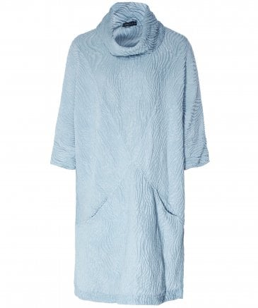 Linen and Silk Blend Cowl Neck Textured Dress