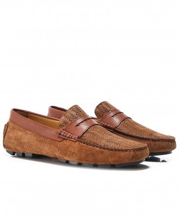 Woven Suede Canester Driving Shoes