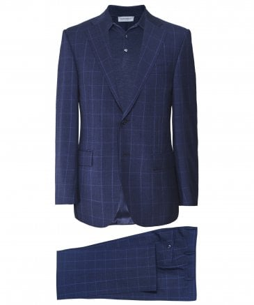 Virgin Wool Windowpane Check Suit