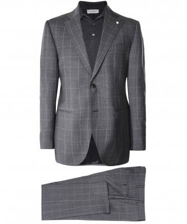 Wool Windowpane Check Suit