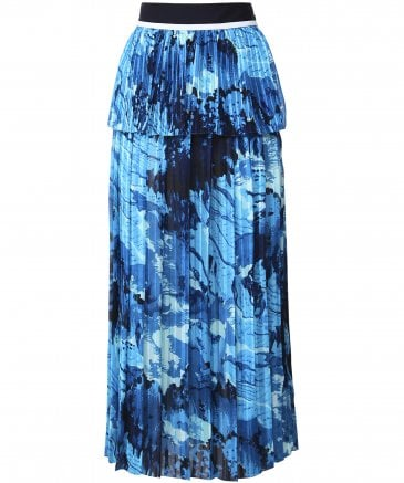 Graphic Print Mixed Pleat Skirt