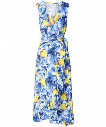 Sinfony Lemon Print Wrap Dress