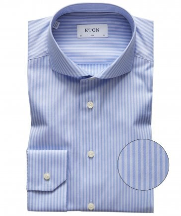 Slim Fit Lyocell Blend Striped Shirt