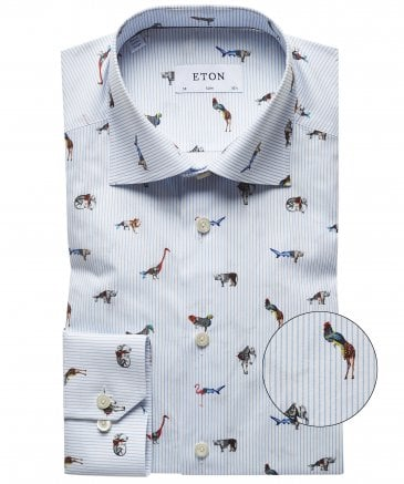 Slim Fit Striped Animal Shirt