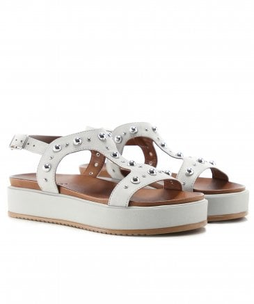 Inuovo Women's Leather T-Bar Studded Sandals