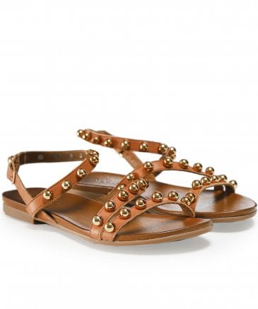 Inuovo Women's Leather Studded Sandals