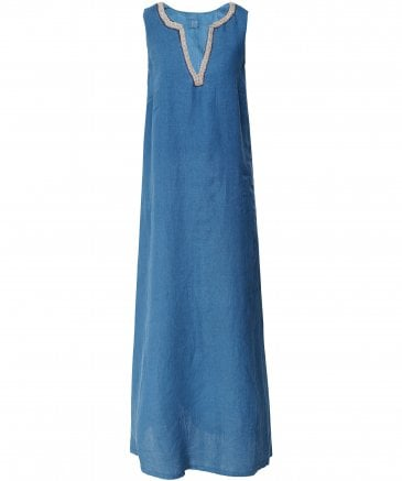 Linen Beaded V-Neck Maxi Dress