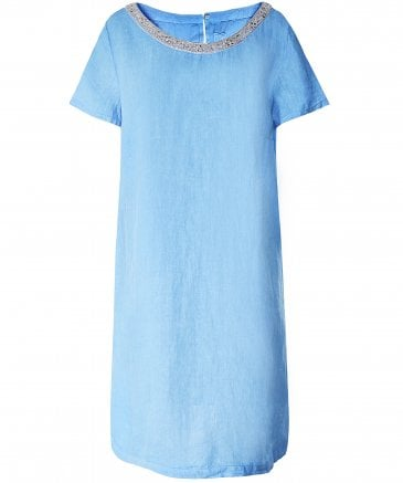 Linen Beaded Neckline Mini Dress