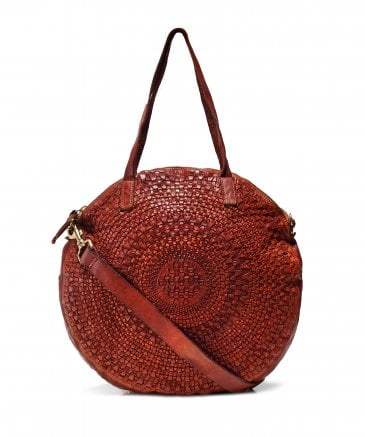 Woven Leather Round Shopping Bag