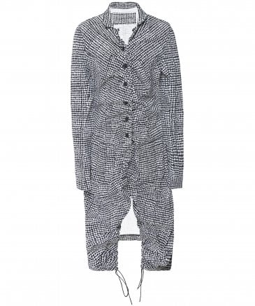 Houndstooth Print Long Jacket