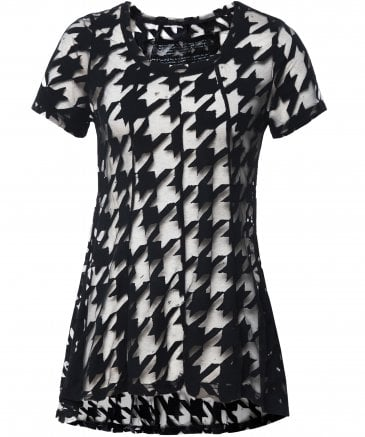 Sheer Houndstooth Check Top