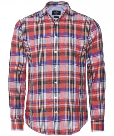Slim Fit Linen Madras Check Shirt