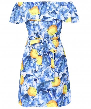 Bacio Lemon Print Off Shoulder Dress