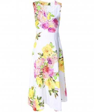 Veronica Button Front Rose Print Dress