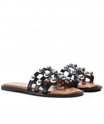 Inuovo Women's Leather Studded Sliders