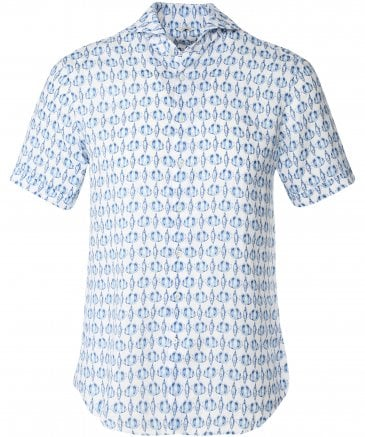 Fitted Body Linen Fish Print Shirt